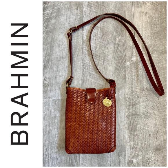 0b2de6e1f49a Brahmin Bags   Crossbody Brown Leather Weave Design Bag   Poshmark